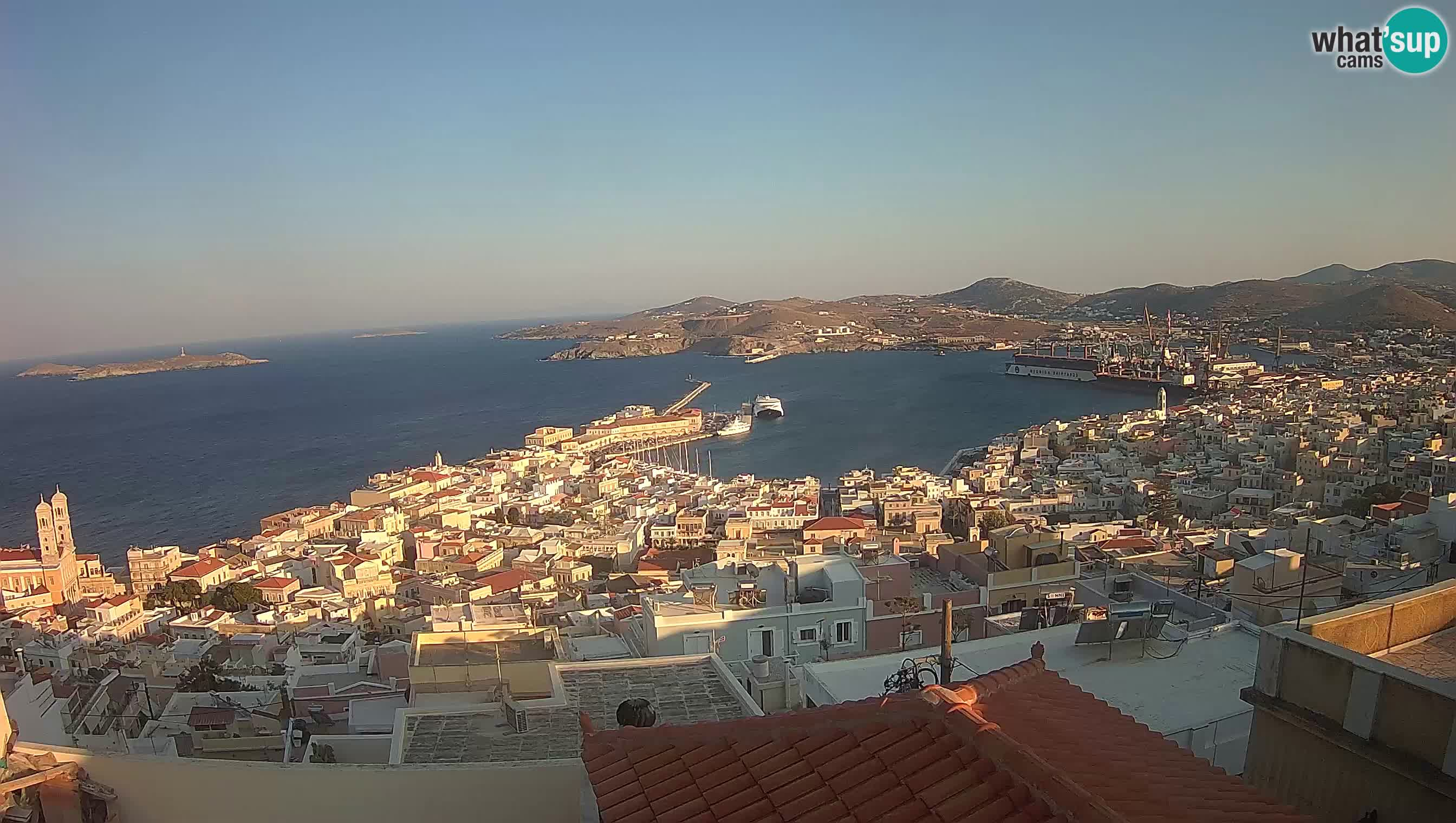 Panoramic view of Ηermoupolis and the port of Syros