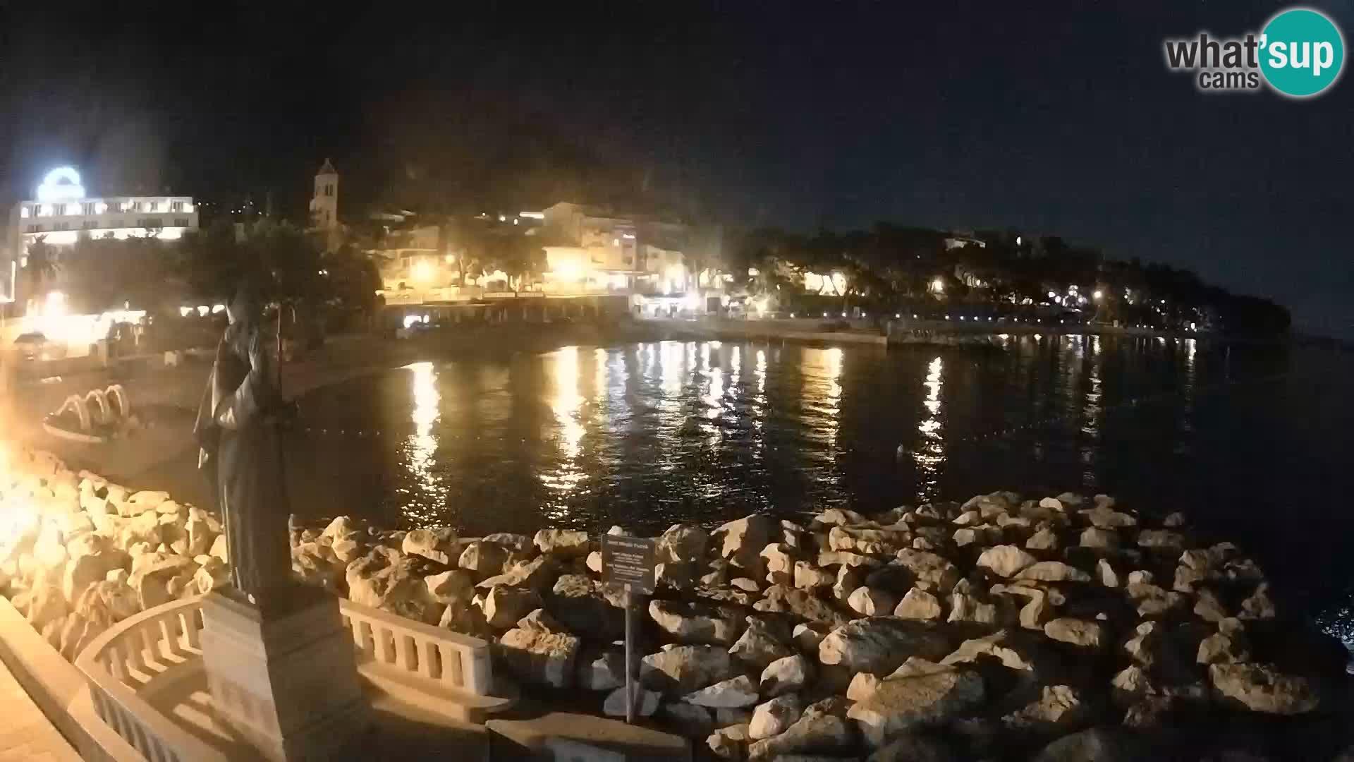 Webcam Baška Voda – Saint Nikola and beach