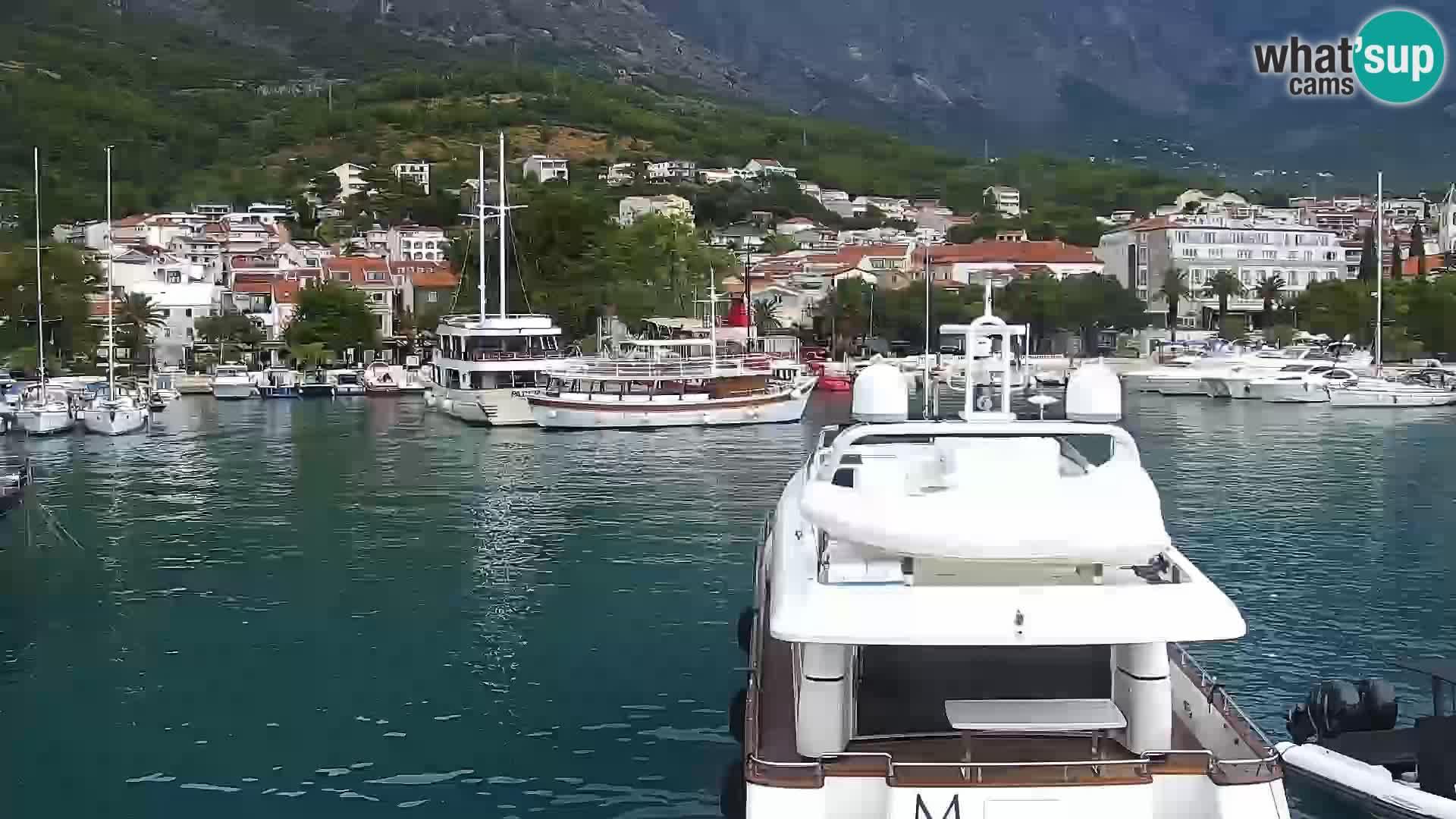 Vue du port de plaisance de la ville et la montagne Biokovo