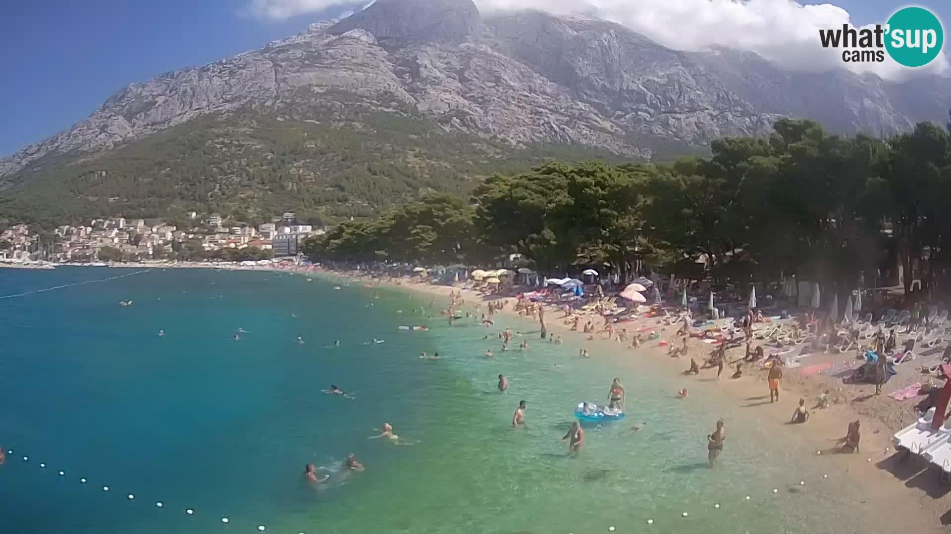 Spletna kamera – Baška Voda – Borik, pogled na plažo Nikolina