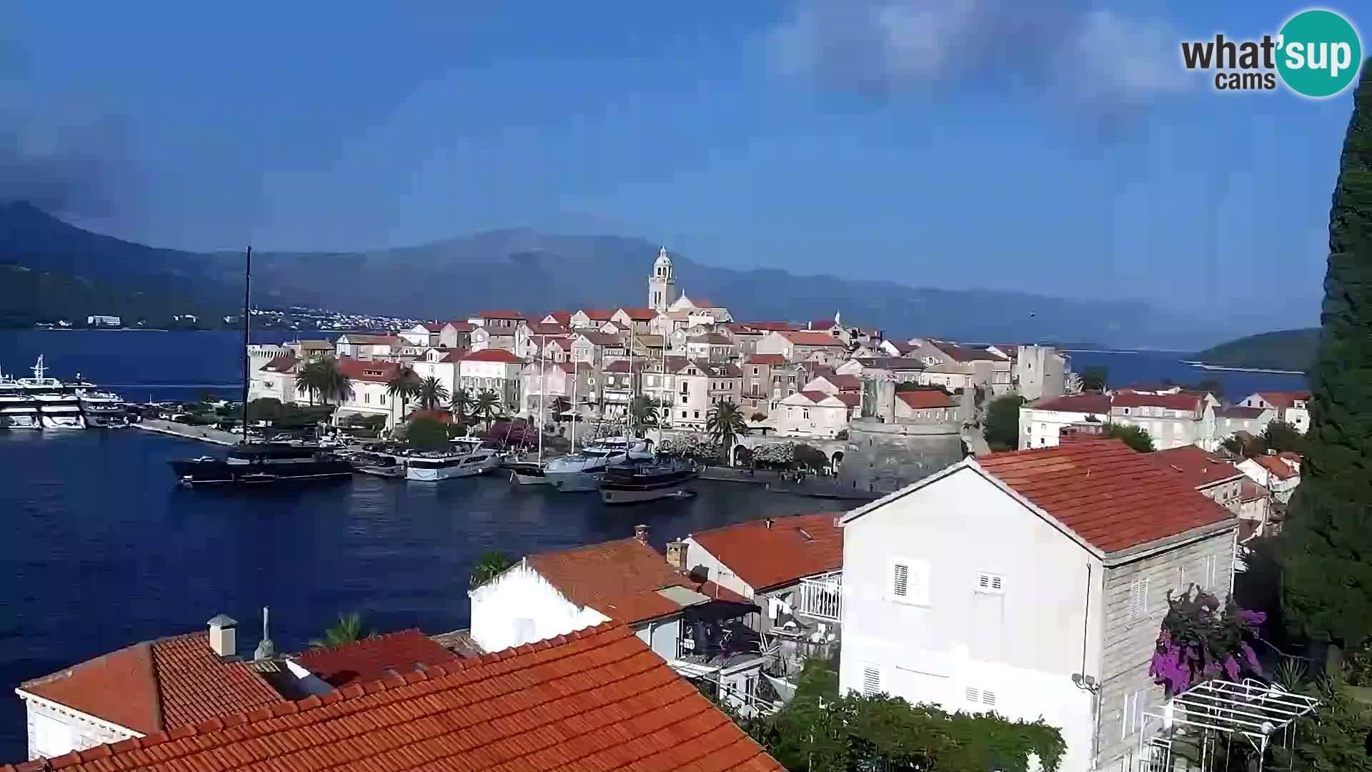Panorama mesta Korčula kamera v živo