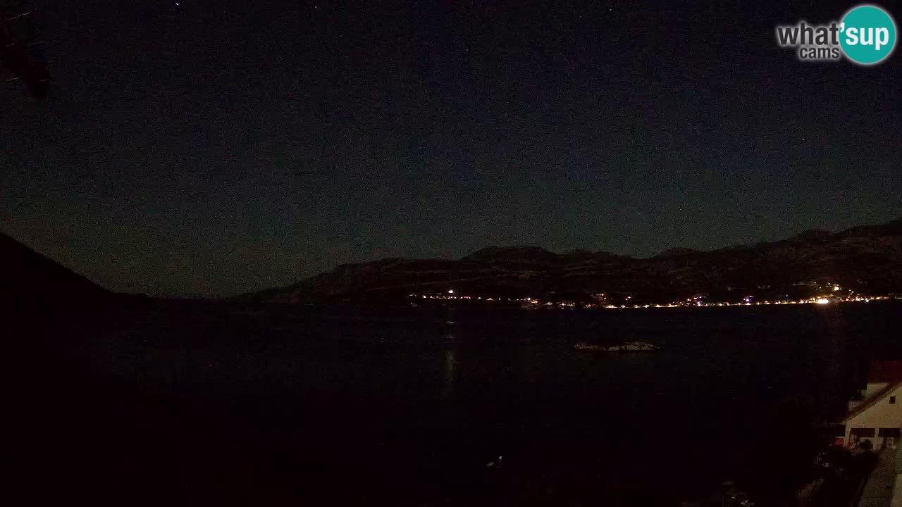 Korčula live webcam – Tri Žala panorama verso Pelješac