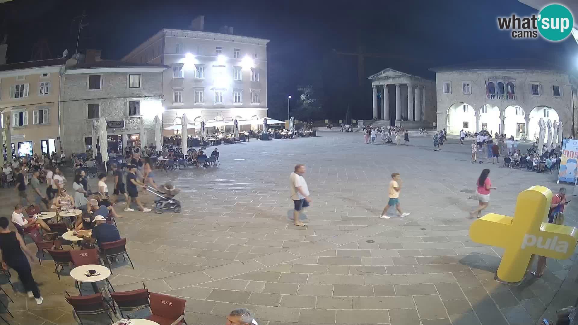 Pula webcam – Forum-Platz und Augustus-Tempel