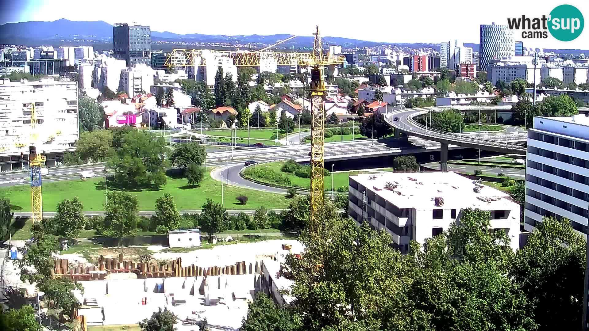 Live-Kreisverkehr Slavonska und Marin Držić Avenue zur Zagreb Webcam