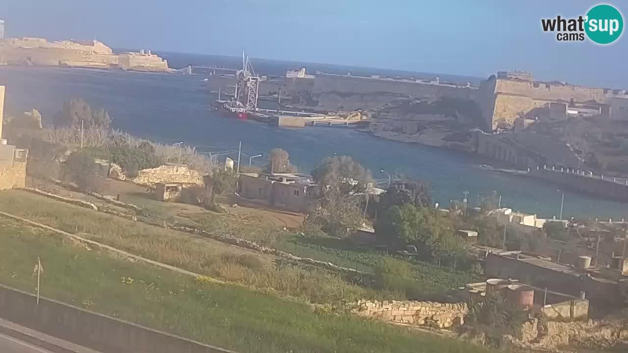 Rinella Kalkara spletna kamera Malta – vhod v veliki zaliv, Valletta