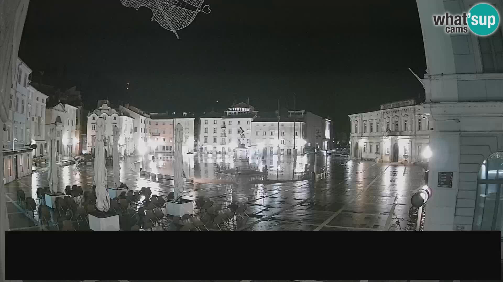 """Spletna kamera Piran – trg Tartini z """"Mestne Kavarne"""""""