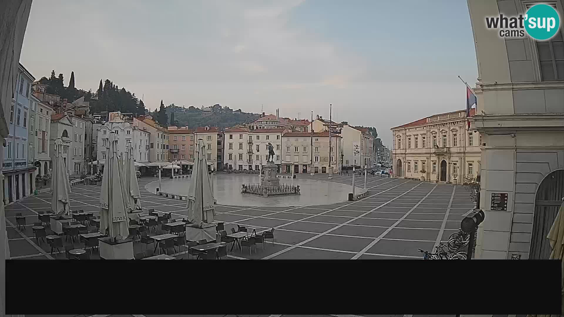 """Webcam Piran – Plaza Tartini """"Mestna Kavarna"""""""