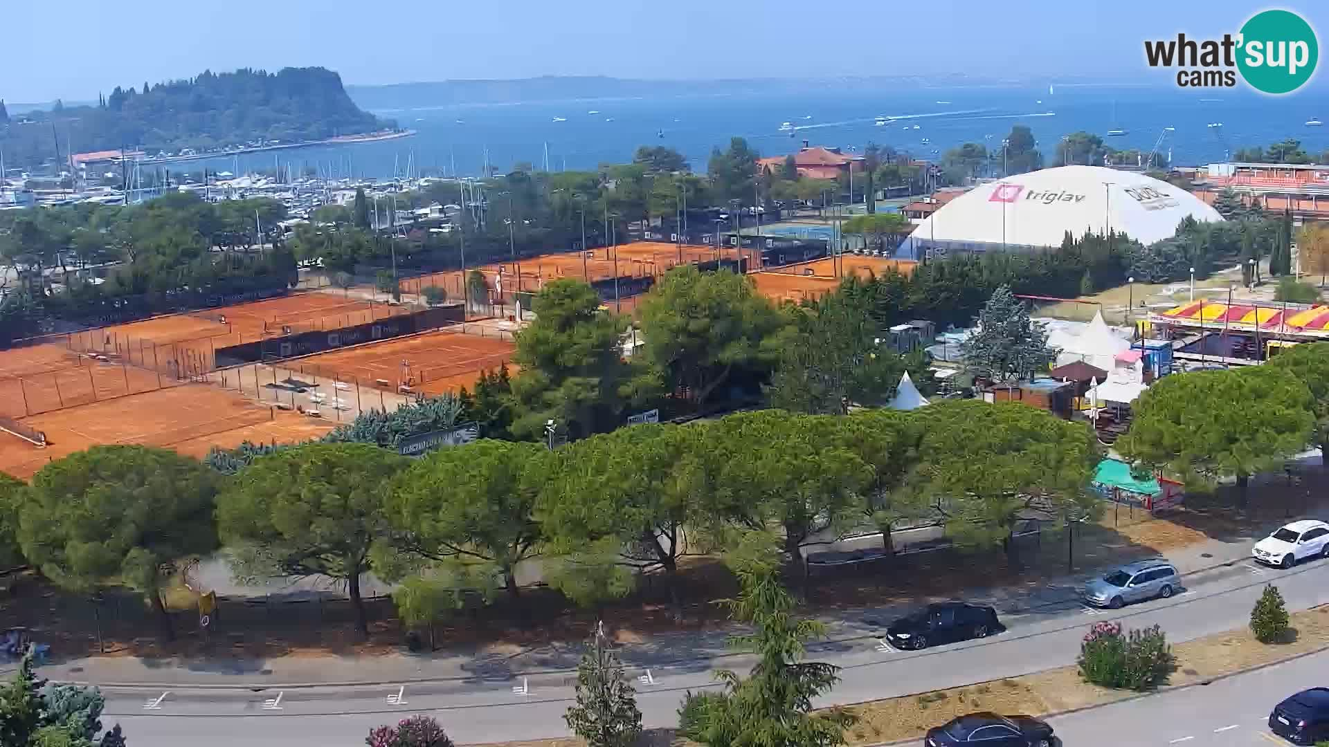 Portorož spletna kamera – pogled na marino in teniška igrišča