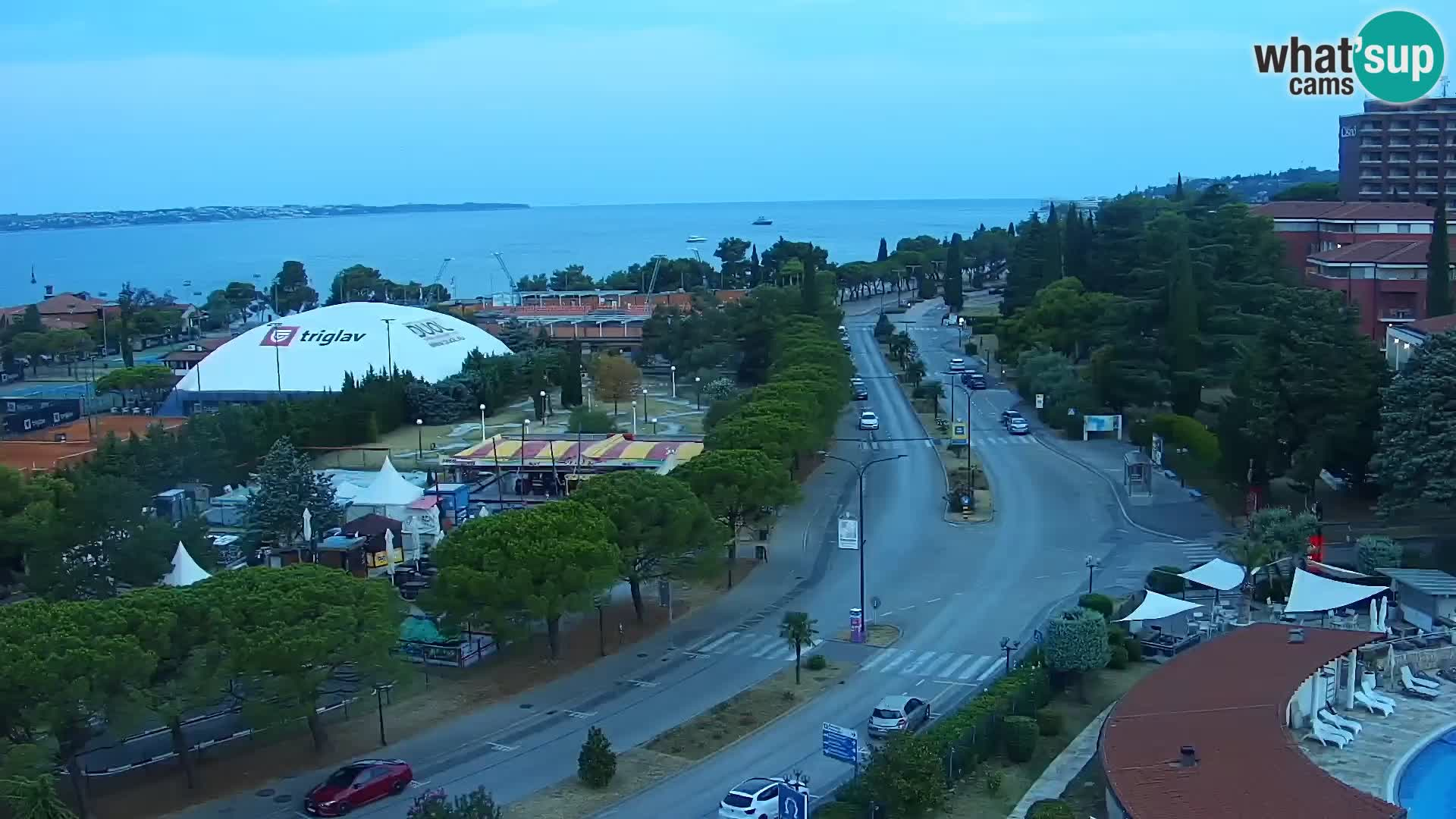 Portorož Live Webcam – view of the marina and tennis courts