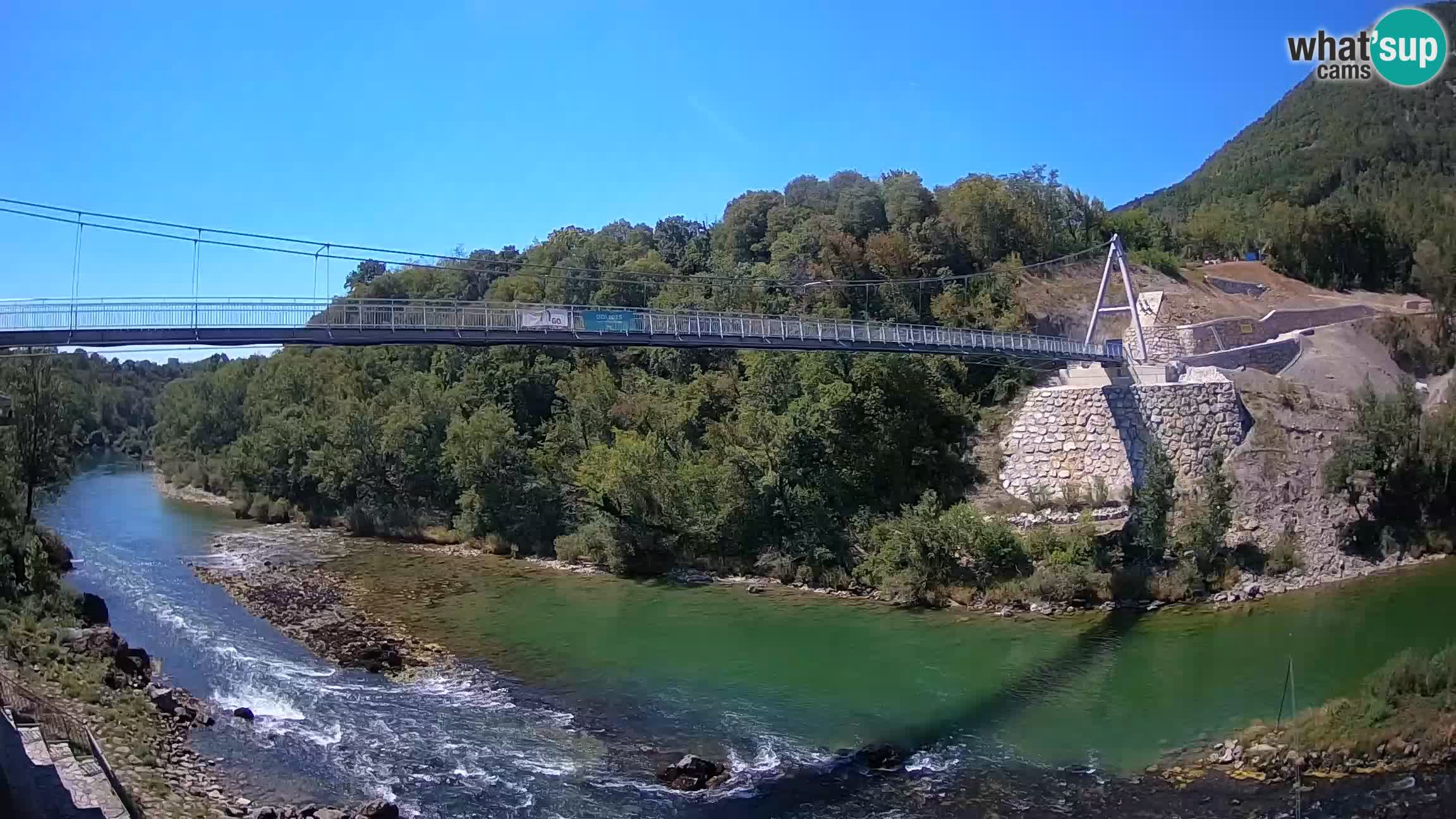 Puente peatonal Soča camera en vivo Solkan