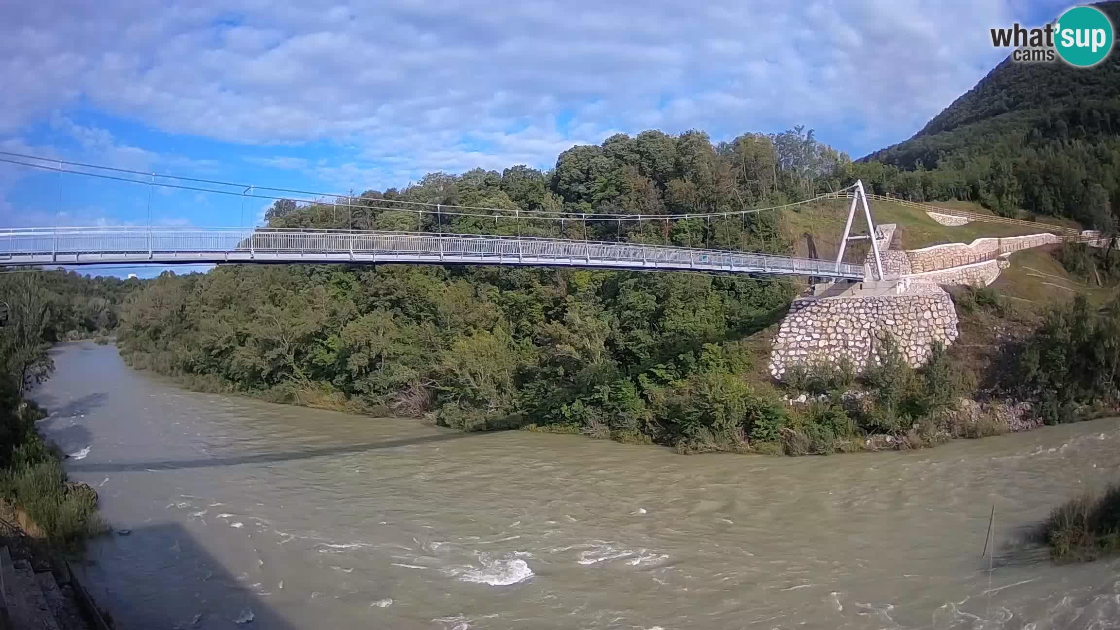 Passerella sul fiume Isonzo webcam Salcano
